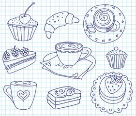 Doodle coffee set