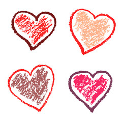 Crayon valentine hearts love funny. Red like kids hand drawing pastel chalk or pencil grunge texture style valentine day design elements, vector background stamp shapes.