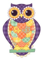 Colored isolated patchwork owl