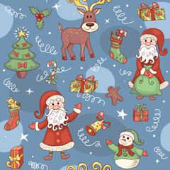 Blue holiday seamless pattern.