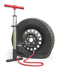 Air pump and puncture car wheel isolated on white background