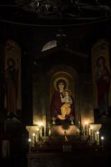 Etchmiadzin, Armenia, September 17, 2017: Interior of Saint Hripsime church in Etchmiadzin