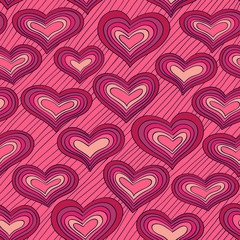 Pink doodle pattern with hearts