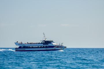Touristic ship in sea.