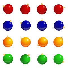 Vector pattern with Christmas multicolored balls,  red, blue, green, yellow