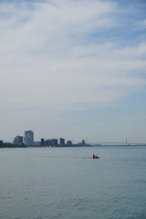 Windsor Canada Riverfront, Detroit River and Ambassador Bridge as seen from Belle Isle State Park
