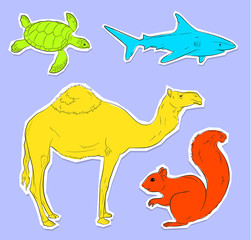 Collection of Four Wild Animals Stickers Vector