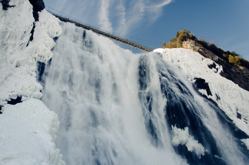Montmorency waterfall in the winter