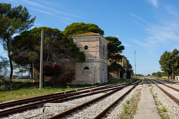 Abandoned rail station near Altamura, Apulia region. Italy.