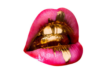 Foto op Plexiglas Fashion Lips Golden glamorous tongue in sexy female mouth. Brilliant shiny golden teeth, pink lipstick and drop of tenderness. Luxury background