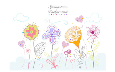 Abstract Spring time colorful doodle beauty flowers illustration floral design background