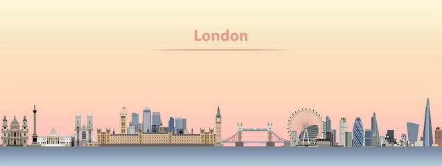vector illustration of London skyline at sunrise