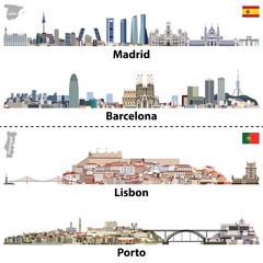 Fototapete - vector illustrations of Madrid, Barcelona, Lisbon and Porto city skylines.