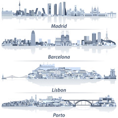 Fototapete - abstract vector illustration of Madrid, Barcelona, Lisbon and Porto city skylines in light blue color palette with water reflections