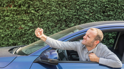 Angry driver gesturing bad, road rage theme