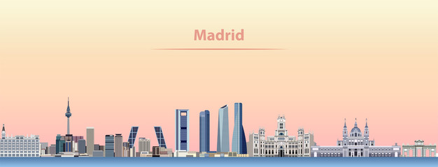 Wall Mural - vector abstract illustration of Madrid city skyline at sunrise