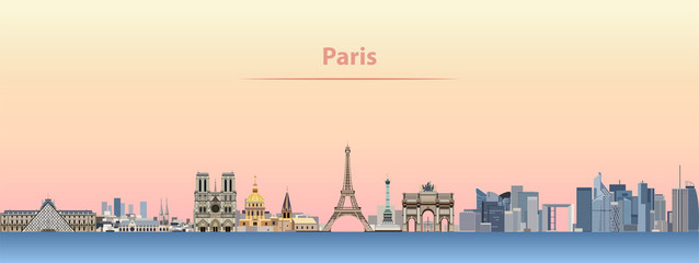 Fototapete - vector skyline of Paris city at sunrise