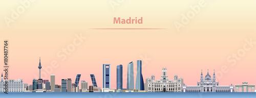Fototapete vector abstract illustration of Madrid city skyline at sunrise