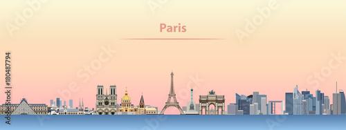 Fototapete vector skyline of Paris city at sunrise