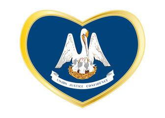 Flag of Louisiana in heart shape, golden frame