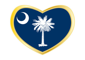 Flag of South Carolina in heart shape Golden frame