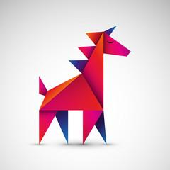 jednorożec origami wektor