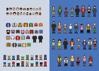 Pixel art man avatar creator, set of video game style elements, vector illustration