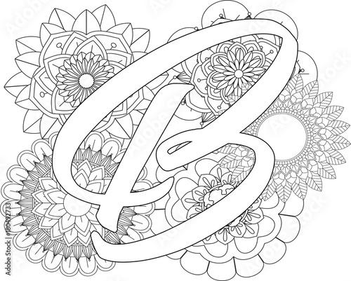 Mandala B Monogramlogo Doodle Floral Letters Coloring Book For Adult
