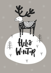 Aluminium Prints Christmas Hello winter - Hand drawn Christmas card in scandinavian style with monochrome deer and lettering.