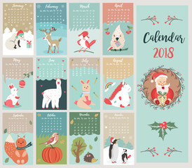 Holiday calendar with cute and funny characters