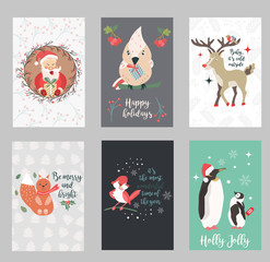 Set of holiday postcards with Santa Claus and funny animals