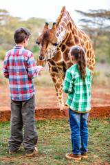 Kids feeding giraffes in Africa