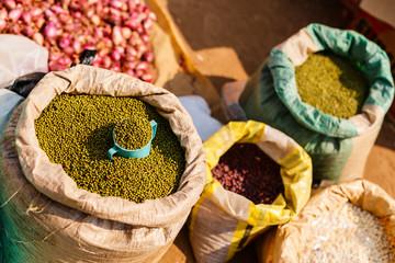Green peas on market