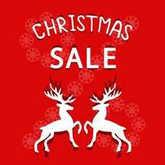 Christmas Sale. Reindeer on a red background.