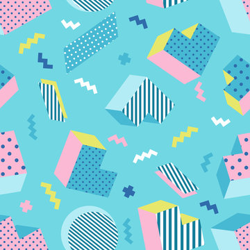 Seamless colorful old school geometric blue background pattern, memphis design style. Vector illustration