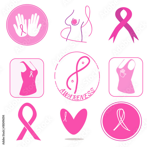 Breast Cancer Awareness Symbols Collection Pink Ribbons As Support