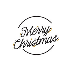 Merry Christmas Lettering in Circle