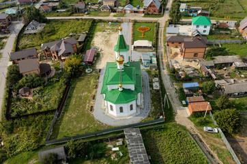 Perevalovo, Russia - August 22, 2017: Aerial view at Nicholas The Wonderworker church. Tyumen region