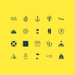 Tourism Icons Set. Includes Icons Such As Money Recycle, Travel Direction, Camping House And Other.
