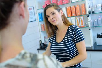cosmetic vendor and client