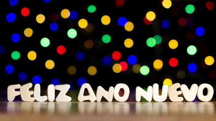 Feliz Ano Nuevo, happy new year in Spanish language