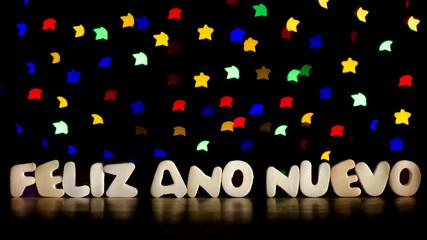 Feliz Ano Nuevo, happy new year in Spanish language