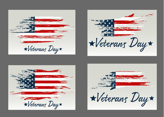 Set Veterans Day. Usa flag on background. Design for holiday cards on a gray background.