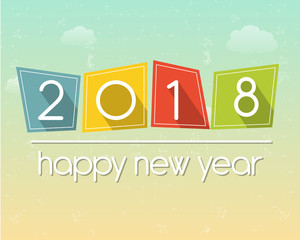 happy new year 2018 over sky background, vector