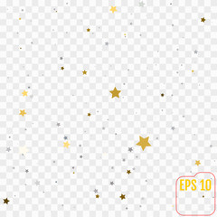 Abstract pattern of random falling gold and silver stars on transparent  background. Glitter pattern for banner, greeting card, Christmas and New Year card, invitation, postcard, paper packaging.