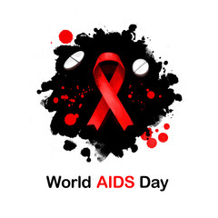 World AIDS day digital art illustration for web, print, design. Red ribbon symbol. Global public health annual campaign held on 1st of December, dedicated to AIDS pandemic caused by HIV infection