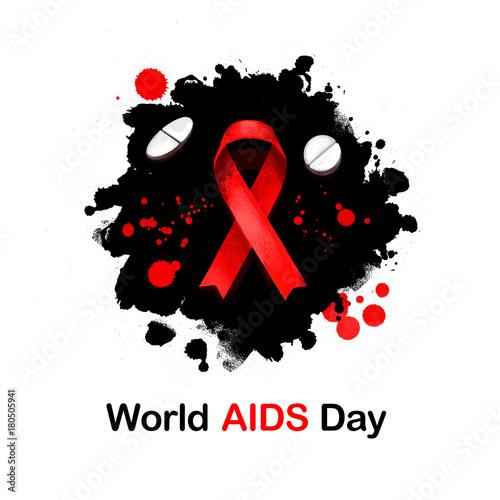 World Aids Day Digital Art Illustration For Web Print Design Red