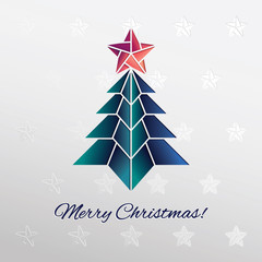 Paper cut christmas tree with star. Vector illustration