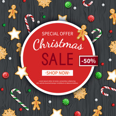 Christmas sale flyer template. Poster, card, label, background, banner on circle frame with sweets on a wooden black table. Special seasonal offer.  Vector illustration. Top view