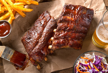 Photo sur Plexiglas Grill, Barbecue Grillied Baby Back Pork Ribs